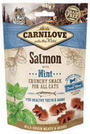 CARNILOVE - SNACK CAT - CRUNCHY SALMON WITH MINT WHIT FREAS MEAT - 50G